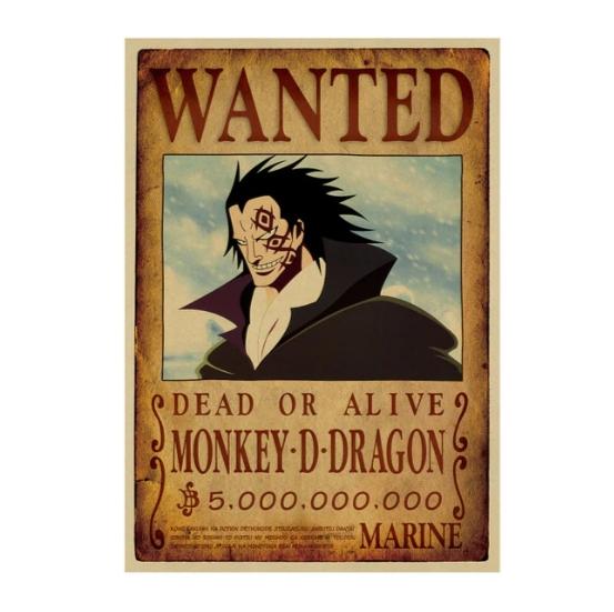 Affiche originale one piece wanted monkey d dragon otaku - Affiche one piece wanted ...