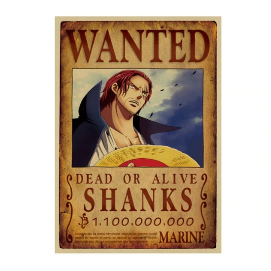Affiche originale one piece wanted shanks otaku level 10 - Affiche one piece wanted ...