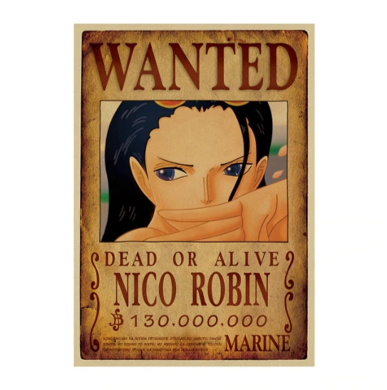 Affiche originale one piece wanted robin otaku level 10 - Affiche wanted one piece ...